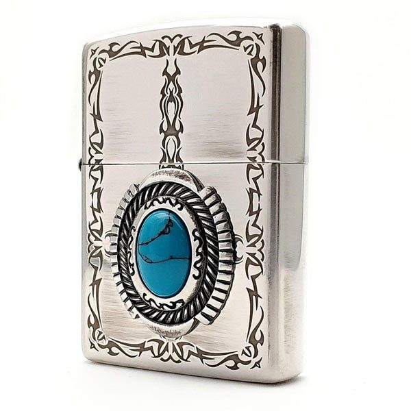 فندک زیپو روکش نقره Zippo Blue Stone Antique Silver Plate
